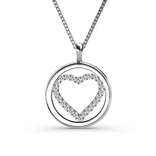 0.25 CT Round Cut Diamonds - Heart Pendant