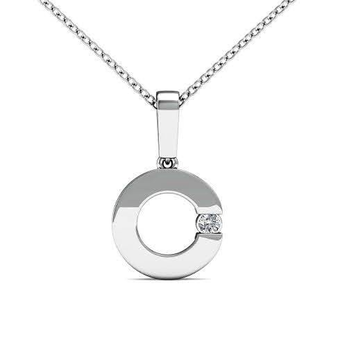 0.06 CT Round Cut Diamonds - Solitaire Pendant
