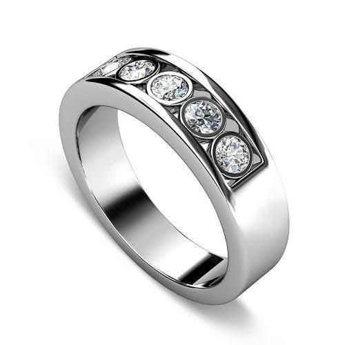 0.65 CT Round Cut Diamonds - Mens Wedding Band