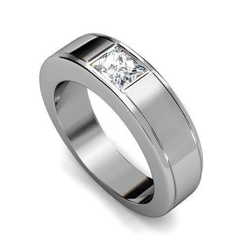 0.65 CT Princess Cut Diamonds - Mens Wedding Band