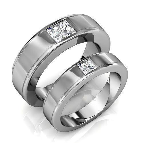 0.85 CT Princess Cut Diamonds - Wedding Set