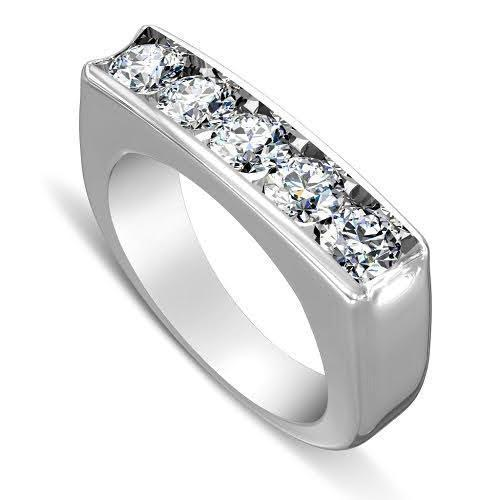 1.00 CT Round Cut Diamonds - Mens Wedding Band