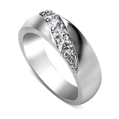 0.30 CT Round Cut Diamonds - Mens Wedding Band