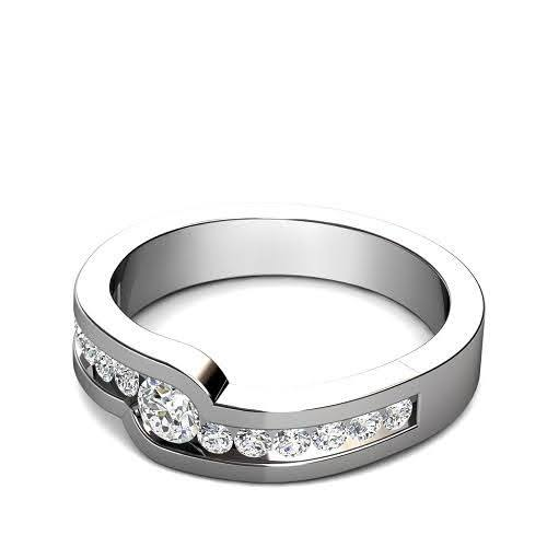 0.60 CT Round Cut Diamonds - Mens Wedding Band
