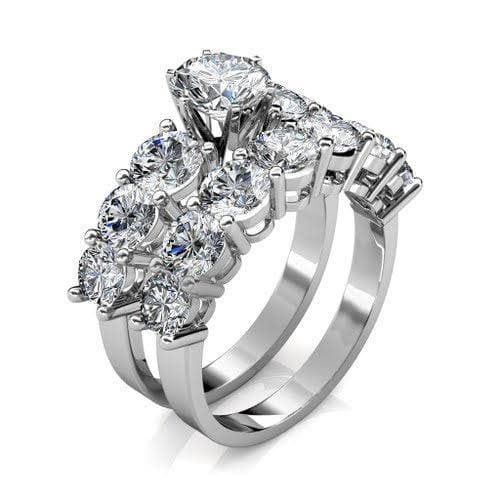 3.95-5.10 CT Round & Princess Cut Diamonds - Bridal Set