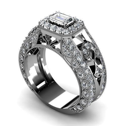 1.30-2.45 CT Round & Emerald Cut Diamonds - Engagement Ring