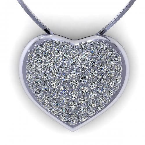 0.70 CT Round Cut Diamonds - Heart Pendant