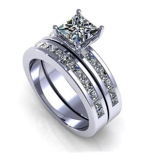 2.10-3.25 CT Princess Cut Diamonds - Bridal Set