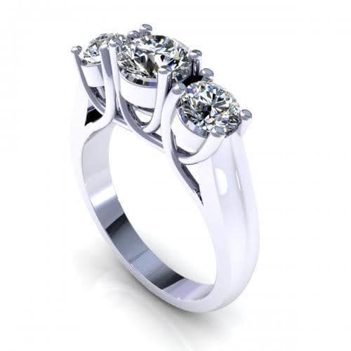 2.05-2.40 CT Round Cut Diamonds - Three Stone Ring