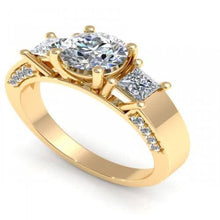 Load image into Gallery viewer, 1.30 CT Round & Princess Cut Diamonds - Three Stone Ring