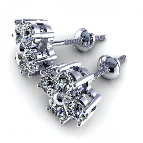 0.50 CT Round Cut Diamonds - Diamond Earrings