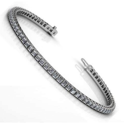 4.00-11.00 CT Princess Cut Diamonds - Tennis Bracelet
