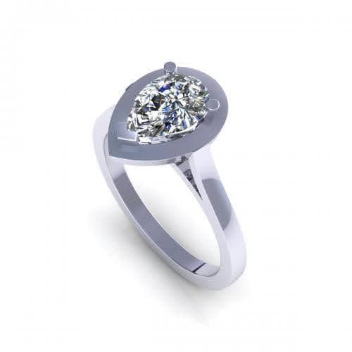 0.35-1.50 CT Pear Cut Diamonds - Solitaire Ring