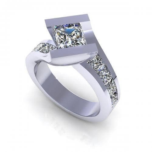 2.15-3.30 CT Princess Cut Diamonds - Engagement Ring