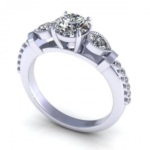 0.77-1.92 CT Round & Pear Cut Diamonds - Engagement Ring