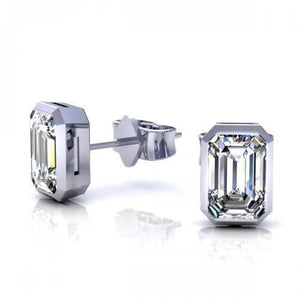 0.25 CT Emerald Cut Diamonds - Stud Earrings