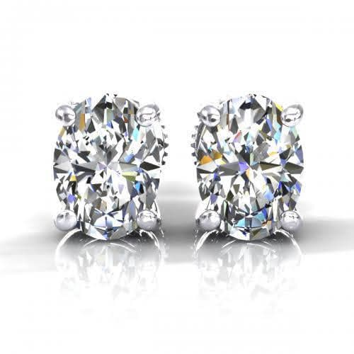 0.25 CT Oval Cut Diamonds - Stud Earrings