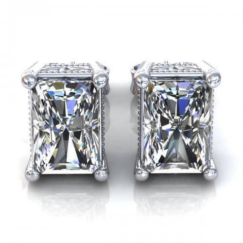 0.25 CT Radiant Cut Diamonds - Stud Earrings