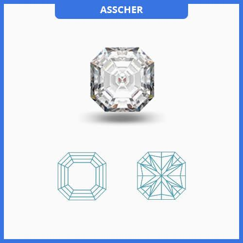 0.50CT J-K/VS2-SI1 Ascher Cut Diamond MDL#D9033-2