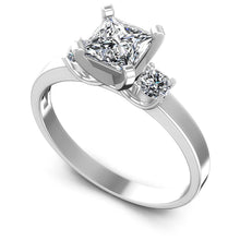 Load image into Gallery viewer, Low-Cost  Round  &  Princess  Diamond  Three  Stone  Ring  MDL#102799