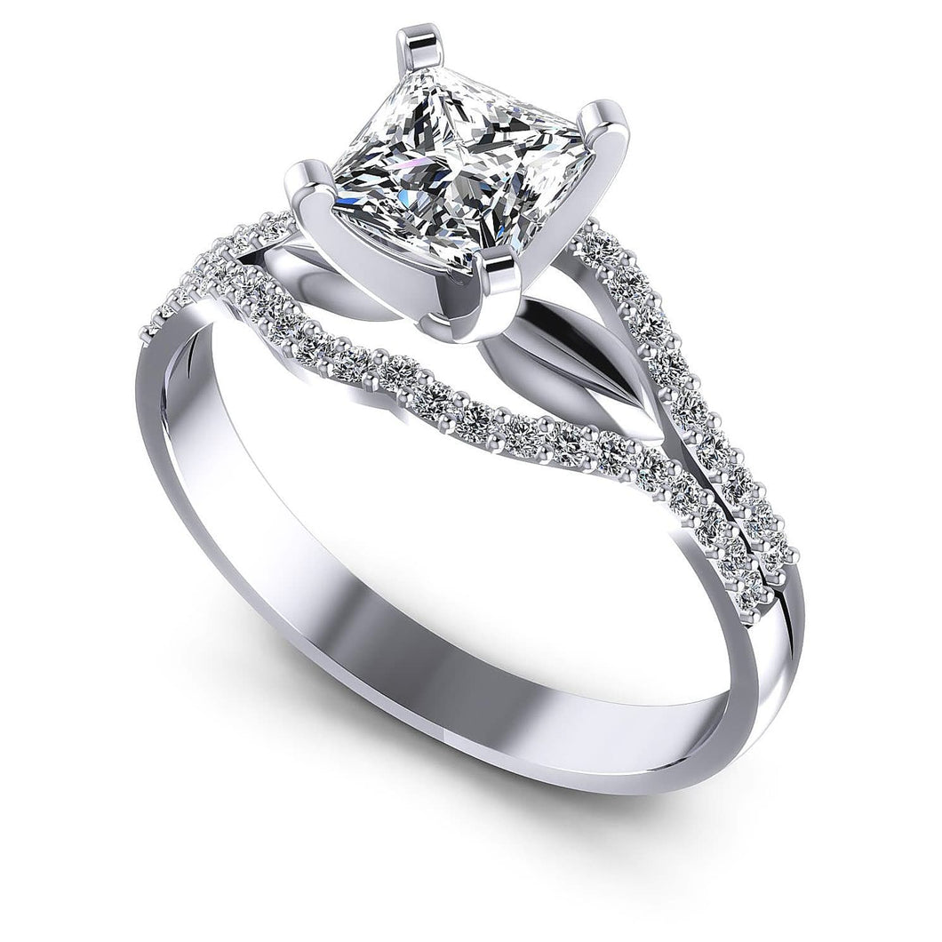 Incredible of Exclusive Round & Princess Diamond Engagement Ring MDL#103788