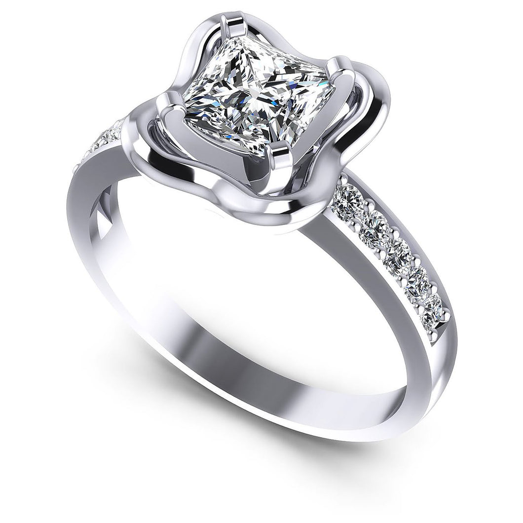 Blissful  Round  &  Princess  Diamond  Engagement  Ring  MDL#103799