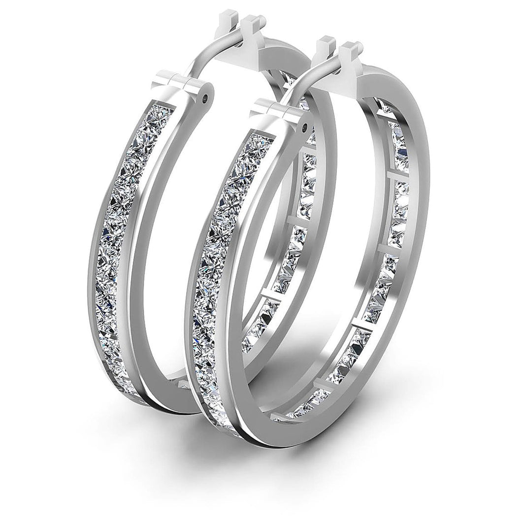 7.10 CT Princess Cut Diamonds - Hoop &  Drop Earrings
