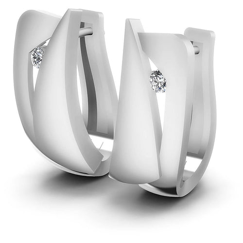 0.10 CT Round Cut Diamonds - Hoop &  Drop Earrings