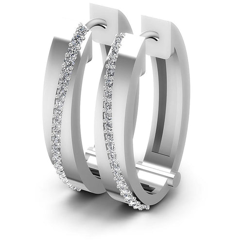 0.40 CT Round Cut Diamonds - Hoop &  Drop Earrings
