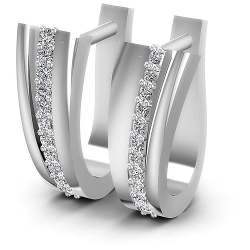 0.30 CT Round Cut Diamonds - Hoop &  Drop Earrings