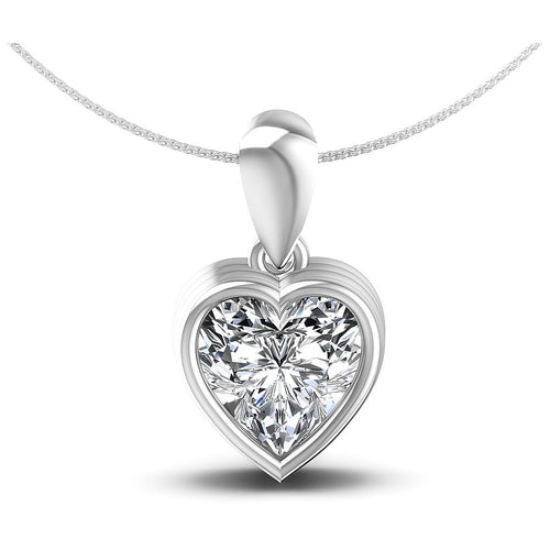 0.35-1.00 CT Heart Cut Diamonds - Solitaire Pendant