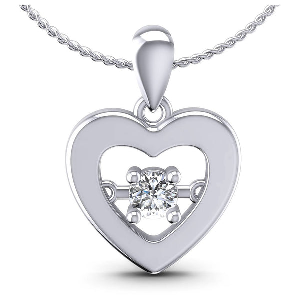 0.10 CT Round Cut Diamonds - Heart Pendant