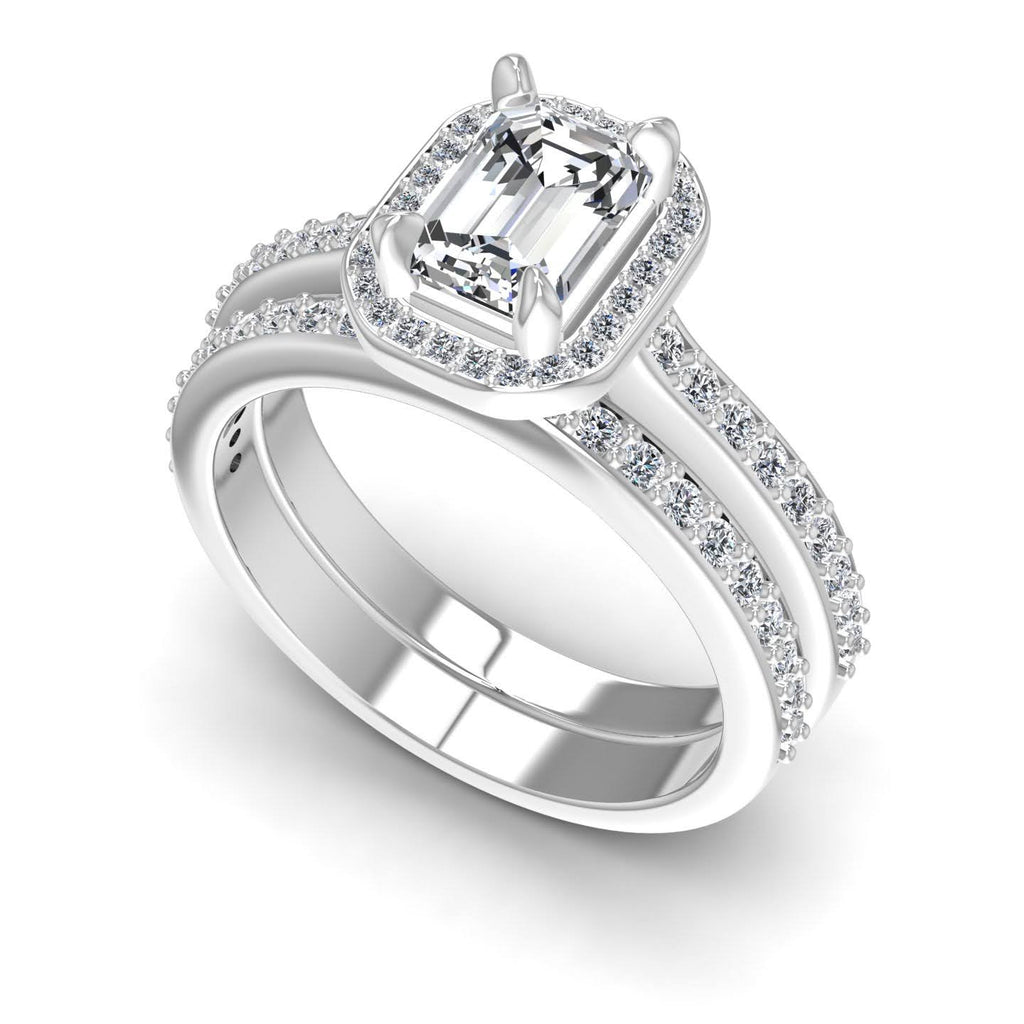 0.90-2.05 CT Round & Emerald Cut Diamonds - Bridal Set