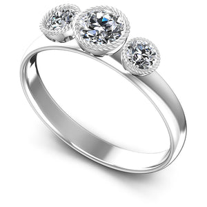 0.70-0.90 CT Round Cut Diamonds - Three Stone Ring