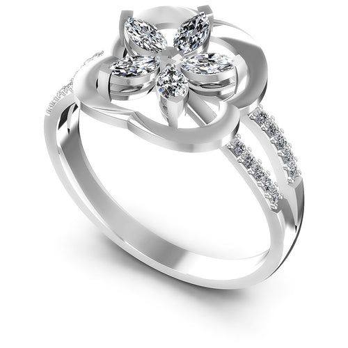 0.40 CT Marquise & Round Cut Diamonds - Fashion Ring