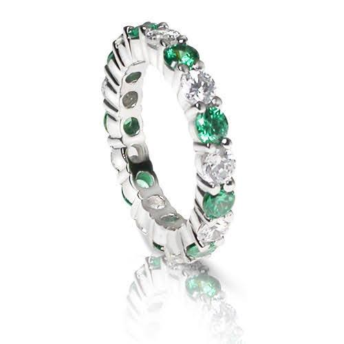 4.10 CT Round Cut Green Emeralds & Diamonds - Eternity Ring