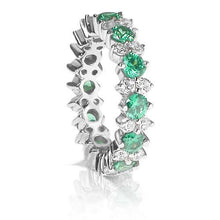 Load image into Gallery viewer, 4.00 CT Round Cut Green Emeralds & Diamonds - Eternity Ring