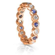 Load image into Gallery viewer, 1.55 CT Round Cut Blue Sapphires & Diamonds - Eternity Ring