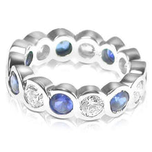 Load image into Gallery viewer, 3.20 CT Round Cut Blue Sapphires & Diamonds - Eternity Ring