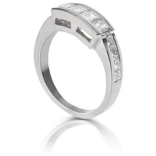 1.40 CT Princess & Emerald Cut Diamonds - Wedding Band