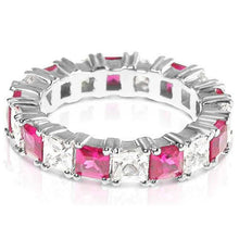 Load image into Gallery viewer, 4.70 CT Princess Cut Rubies & Diamonds - Eternity Ring