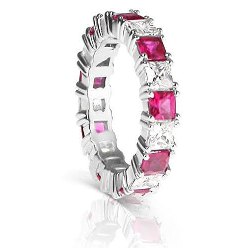 4.70 CT Princess Cut Rubies & Diamonds - Eternity Ring