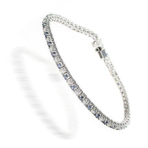 1.00-6.00 CT Round Cut Blue Sapphires & Diamonds - Color Stones Bracelet