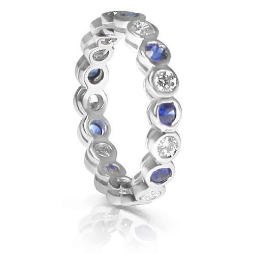 1.55 CT Round Cut Blue Sapphires & Diamonds - Eternity Ring
