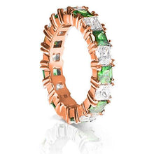 Load image into Gallery viewer, 4.70 CT Princess Cut Green Emeralds & Diamonds - Eternity Ring