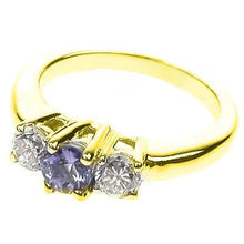 Load image into Gallery viewer, 0.90 CT Round Cut Diamonds & Tanzanites - Three Stone Ring