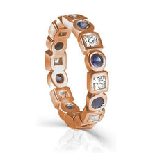 Load image into Gallery viewer, 1.65 CT Round & Princess Cut Blue Sapphires & Diamonds - Eternity Ring