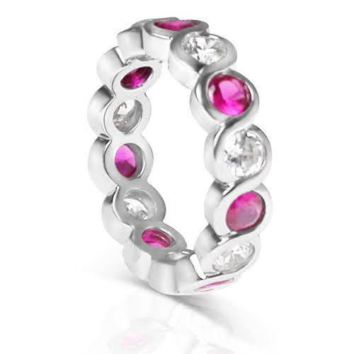 3.20 CT Round Cut Rubies & Diamonds - Eternity Ring