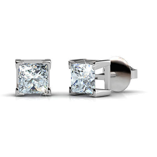 0.50-3.00 CT Princess Cut Diamonds - Stud Earrings