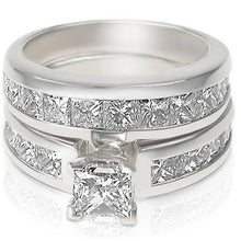 Load image into Gallery viewer, 3.20-4.35 CT Princess Cut Diamonds - Bridal Set